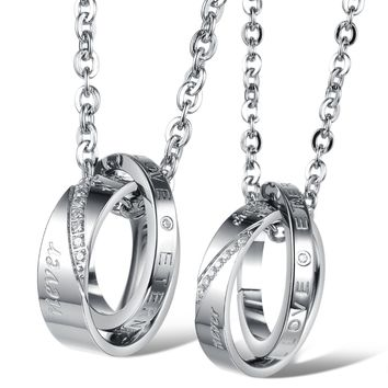 Stainless steel Pendant CZ inlay with necklace sets