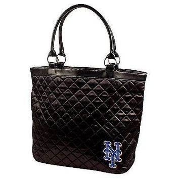 New York Mets Licensed Black Quilted Tote Bag