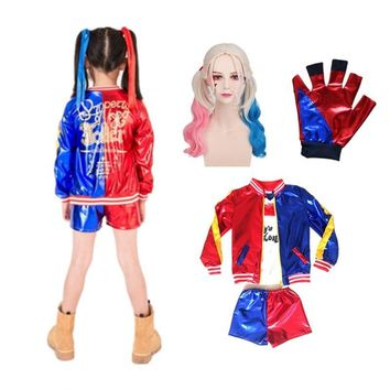 Cool 24hrs shipped Harley Quinn Cosplay Costumes Kids Girls Purim Coats Femme Jacket Chamarras De Batman Para Mujer Suit with Wig GloAT_93_12