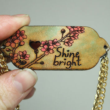 Mantra bracelet Shine bright Cherry blossom hand painted leather MB5