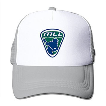 LIANBANG Major League Lacrosse Mll Logo Adjustable Printing Mesh Cap Unisex Adult Sun Visor Baseball Mesh Hat - Grey