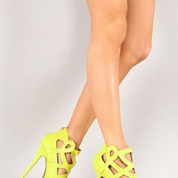 Wild Diva Lounge Jacklyn-49 Cut Out High Heel Shoes Pumps Lime Green Yellow
