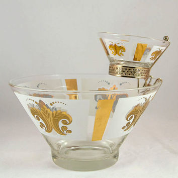Vintage Anchor Hocking Chip & Dip Set with Original Box - Fleur-de-Lis Mid Century