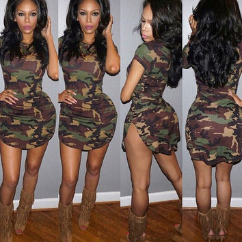Women Summer Dress Short Sleeve Sexy Mini Dresses women Green Camouflage Print Plus Size Woman Vestidos