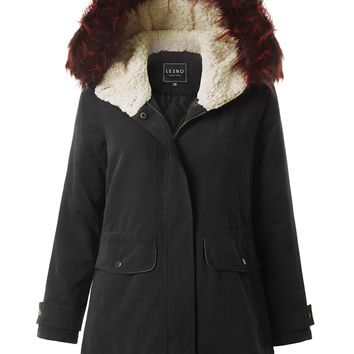 LE3NO Womens Parka Military Anorak Hoodie Jacket with Detachable Faux Fur Trim