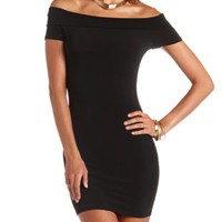 Off-the-Shoulder Bodycon Dress by Charlotte Russe - Black