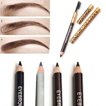 1pc Eyebrow Pencil & Brush Eyebrow Enhancer Long Lasting Makeup Pencil To Eye Two Sides With Brush Design Metal Casing 5 Colors