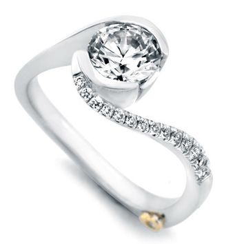 Mark Schneider Captivate Bypass Half Bezel Set Diamond Engagement Ring