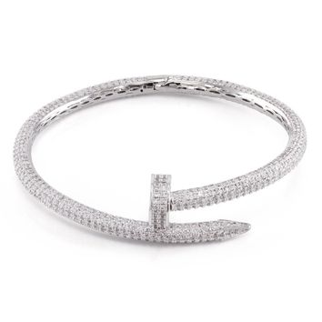 The White Gold CZ Studded Nail Bracelet