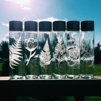 FREE Shipping - Etched Glass Water Bottle (12.8 oz & 27.1 oz) (Repurposed)