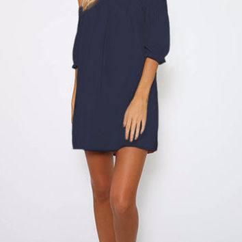 Navy Off Shoulder Lantern Half Sleeve Mini Dress