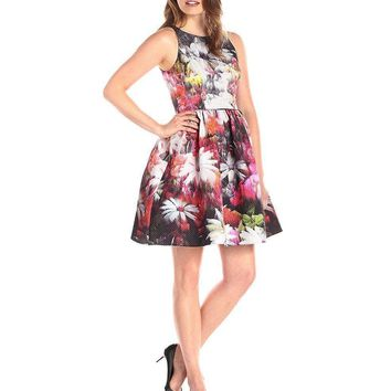 Adrianna Papell - 41912000 Printed Bateau Cocktail Dress\