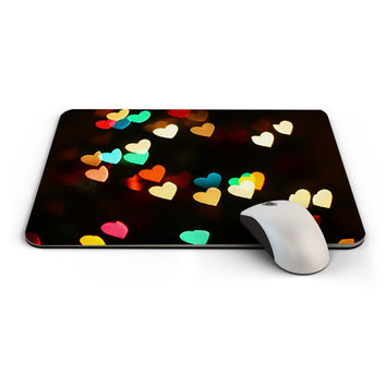 Mouse Pad, Office Decor, Computer Accessories / Multicolored hearts mousepad design / Great gift item for her (G010)