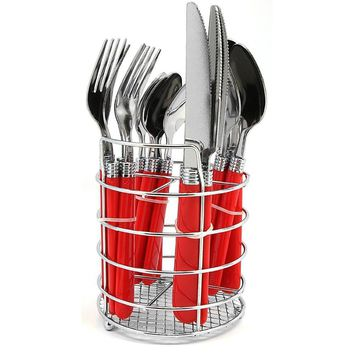Becket 16 Piece Flatware Set with Polypropylene Handle & Wire Caddy, Red