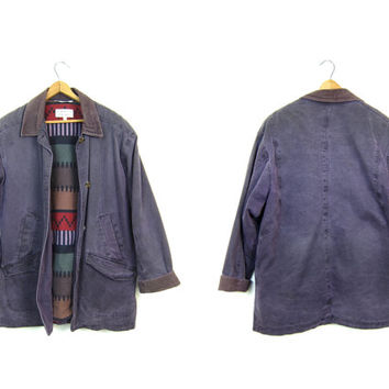 Vintage Purple Canvas Barn Coat 90s Womens Chore Jacket Ranch Coat Oversized Fall Winter Flannel Lined Field Coat Womens Small Medium
