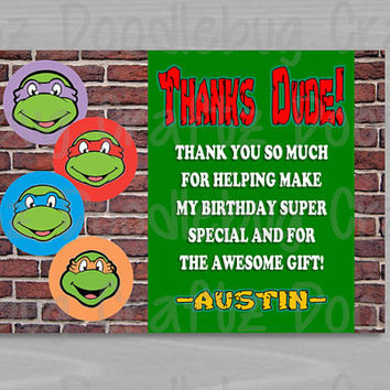 PRINTED - TMNT - Teenage Mutant Ninja Turtles - Personalized Custom Birthday Party Thank You Cards. Choose size - 5x7 or 4x6