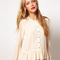 ASOS Blouse With Peplum And Crochet Lace Trim at asos.com