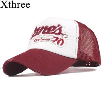 Trendy Winter Jacket xthree new summer mesh baseball cap fitted hat Casual cap gorras 5 panel hip hop snapback hats for men women unisex AT_92_12