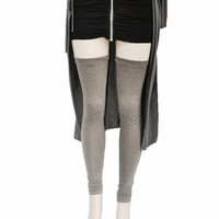 Thigh High Leg Warmers Heather Charcoal Womens Cuffed and Ruched