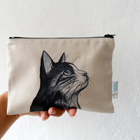 Cat Pouch, Zipper Pouch , cosmetic bag, pencil case, travel bag, gift for cat lovers