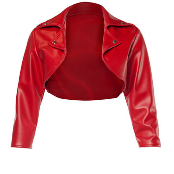 Deadly Dames Moto Babe Bolero in Red Faux Leather