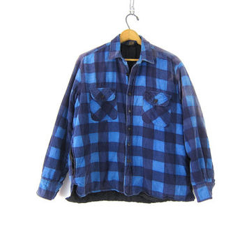Vintage Flannel Jacket Lined Plaid Flannel Shirt Button Up Insulated Shirt Blue Black Buffalo Checker Print Quilted Coat Mens Work Large