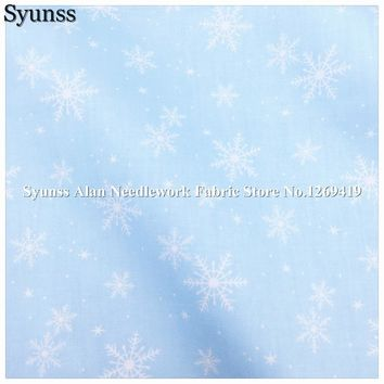 Syunss,Twill Cotton Fabric DIY Tissu Patchwork Telas Sewing Baby Toy Bedding Quilt Cloth Blue Back snowflake Print Craft Tecido