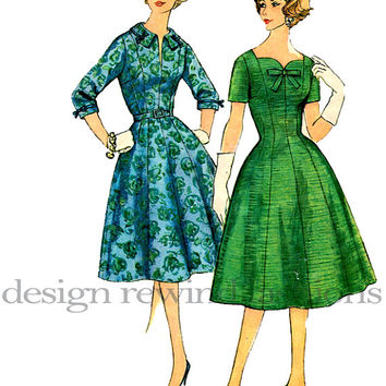 1950s Evening Cocktail Day DRESS Fitted Bodice Sweetheart Neckline, Collar Full Skirt Simplicity 3227 Sewing Pattern Half Size 16.5/ Bust 37