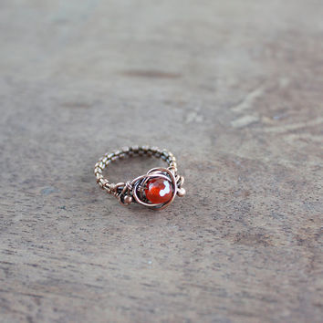 Orange ring - Copper ring - Wire Jewelry - Fall colors - October - Statement - Carnelian ring