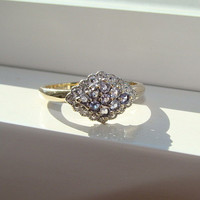 RESERVED FOR G Vintage Two Toned Iolite and Diamond Ring Gold Gemstone Engagement Ring Cluster Lace Setting Purple Violet 9K size 9