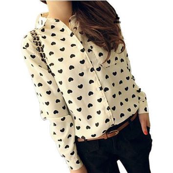 Blusas Femininas 2016 Fashion Vintage Women's Shirt Chiffon Blouse Love Heart Sweet Black Women Long Sleeve Tops S M L