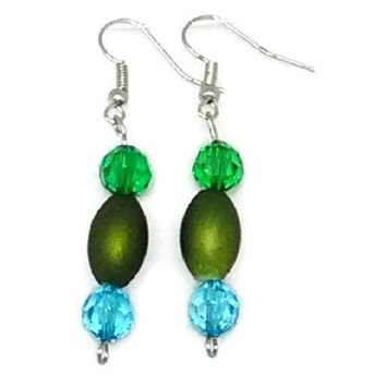Green Barrel Bead with Green and Blue Round Faceted Bead Earrings