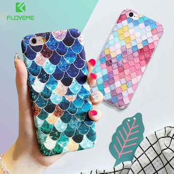 FLOVEME For iPhone 7 6 6S Plus Case Mermaid 3D Scales Case For iPhone X iPhone 5 5S SE Girly Back Cover For iPhone 6 6S 7 Plus