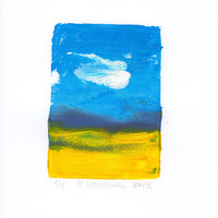 Handmade Original Monotype Print, Original Abstract Art Print for Home and Office, Beach and Sky in Yellow and Blue, Modern Fine Art Print