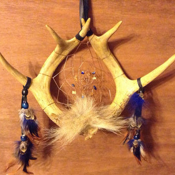 Deer antler dream catcher Coyote fur pheasant rooster Lapis Lazuli picture Jasper