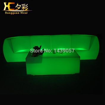 LED Sofa Luminous Plastic Couch Bar Furniture Table Color Changing Desk Stool For Living Room Wedding Ceremony Party