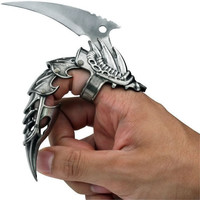 "5.5"" IRON REAVER STAINLESS STEEL BLACKENED SILVER FINGER CLAW knife"