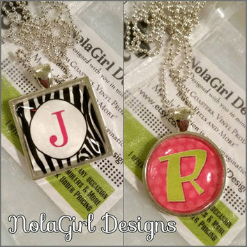 Monogram letter Necklace, Charm, Teen Jewelry, Little girl jewelry, zebra monogram, Teen necklace, alphabet charm,  Letters, fun jewelry