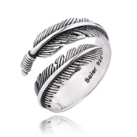 Angel Feather Open Tail Ring in Sterling Silver For Lovers - Zivpin