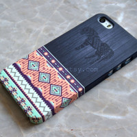 Tribal Horse Aztec Geometric Wood iPhone 5s Case , iPhone 5 Case , iPhone 4s Case , iPhone 6 Case , iPhone 6 Plus , Samsung Galaxy S5 S4