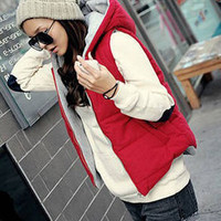 Hooded Vest Zip Up Jacket