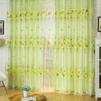1pcs Sheer Curtain Panel Door Window Scarf Floral Curtain Drape Panel Voile Valances, voile curtains,Tulle on the window 1m*2m