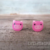 Cute Pig Polymer Clay Post Earrings 10mm