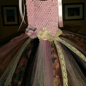 Camo & Lace Dress-  infant dress- toddler dress- pink camo tutu dress-  rustic wedding flower girl dress- made to order