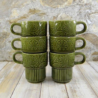 Retro Set of Six Japan Stacking Mugs