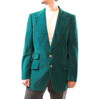 Teal Corduroy Blazer - Vintage 70s Mens Blue Green Blazer Ticket Pocket Smoking Jacket Sports Coat 42 42L FREE US Shipping