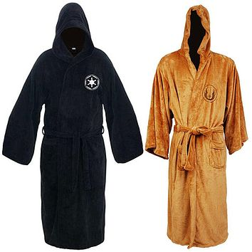 2017 Flannel Robe Male With Hood Thickening Long Design Dressing Gowns Star War Men's Coral Bathrobe batas de casa