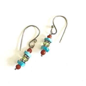 Southwestern Style Sterling Silver French Hook Dangle Earrings with Stacked Natural Turquoise and Coral, Casual Earrings, Dangle Earrings