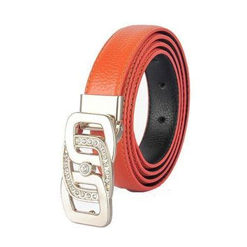 ESB2N Womens Geniune Leather Belt Luxury Crystal Diamond Designer Belts
