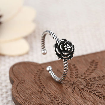 Authentic 925 Sterling Silver Ring With  Love Rose Buckle Ring For Women Compatible With Pandora Jewelry